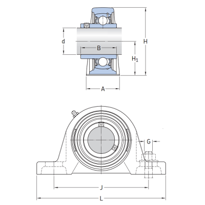 MGB - Корпусной подшипниковый узел на лапах Корпус P 205 STC
