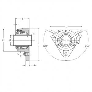 MGB - Треугольная фланцевая подшипниковая опора КОРПУС I-120014