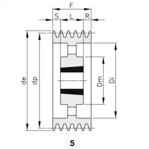 MGB - Клиновой ременный шкив SPC 1250 10