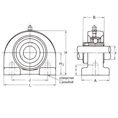 MGB - Корпусной подшипниковый узел с коротким основанием PW 205 IBU-IBB