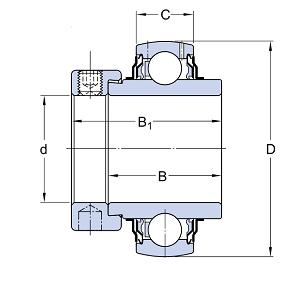 MGB - Корпусной подшипник с эксцентриковым стопорным кольцом HC204