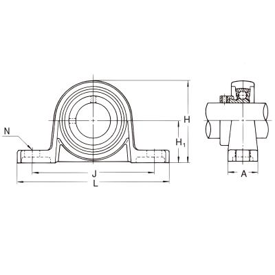 MGB - Корпусной подшипниковый узел из алюминиевого сплава UP 000 IBU-IBB