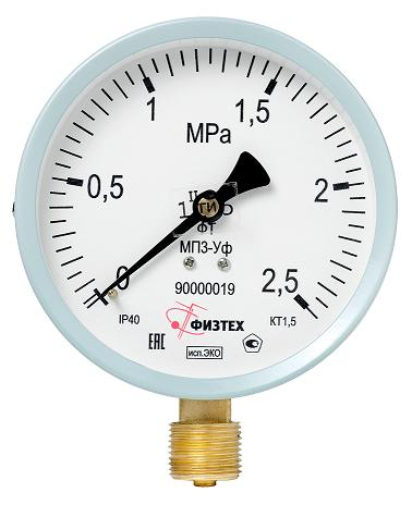 MGB - Манометр для ЖКХ МП3-Уф исп. ЭКО 0-600 кПа, кт. 1,5, d100, IP40, G1/2 РШ