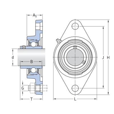 MGB - Корпусной подшипниковый узел с овальным фланцем из термопластика SSUCTFL 207 PL BLACK IBU-IBB