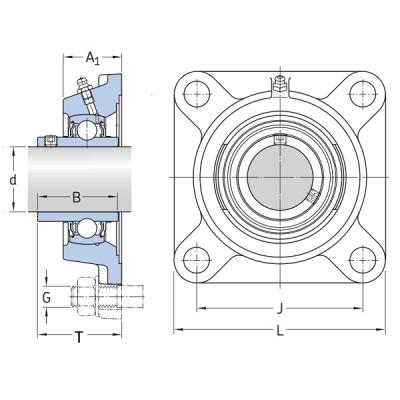 MGB - Корпусной подшипниковый узел с квадратным фланцем из термопластика Корпус TF 210 PL IBU-IBB