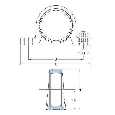 MGB - Корпусной подшипниковый узел на лапах из термопластика Корпус TP 207 PL IBU-IBB